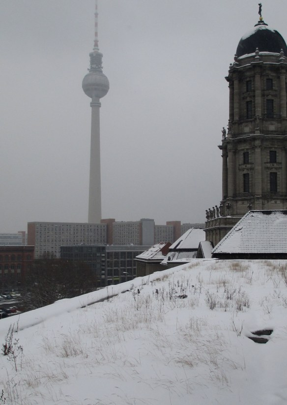 This is one of my potential research sites in Berlin. It's almost April but all the green roofs are still covered in snow!
