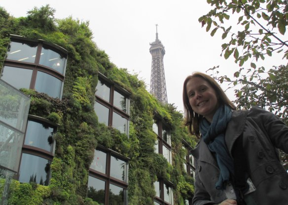 There were some great views in Paris! Here is a building with a green facade really close to the Eiffel Tower.